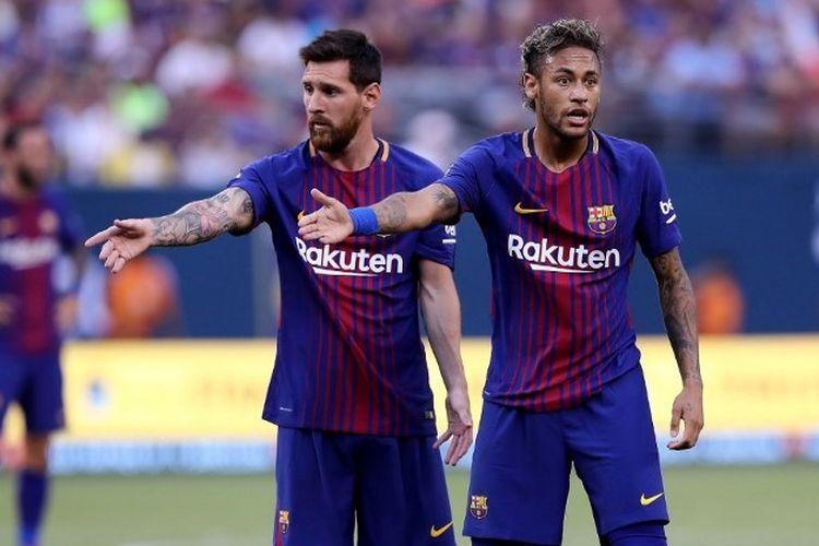 Lionel Messi bersama mantan penggawa Barcelona, Neymar.