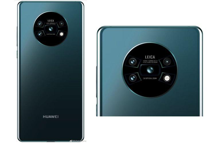 Render Huawei Mate 30 dengan kamera belakang membulat.