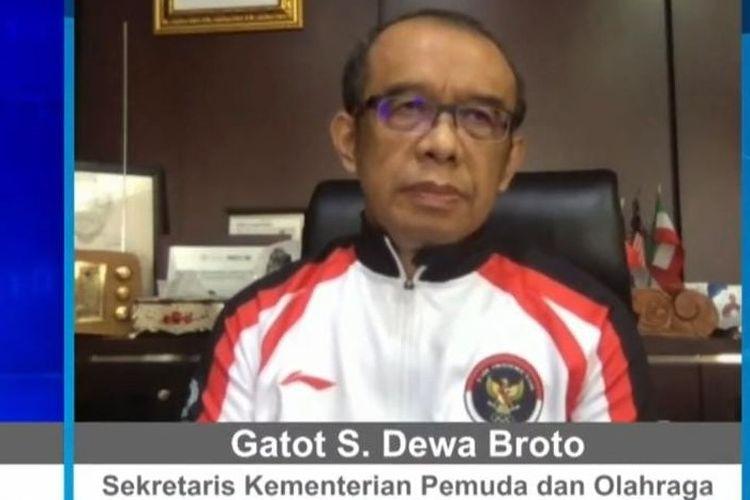 Tangkapan layar Sekretaris Kemenpora Gatot S Dewa Broto pada diskusi virtual FMB9, Kamis (2/9/2021) bertajuk PON Gerakkan UMKM dan Wisata Papua.