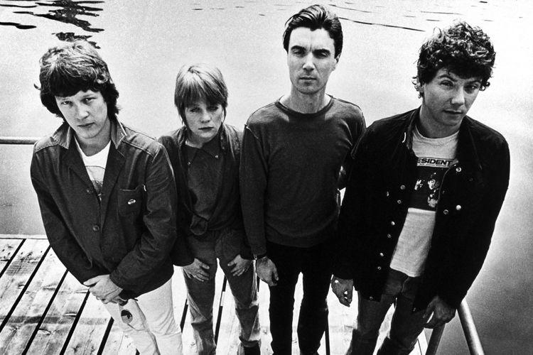 AMSTERDAM, NETHERLANDS: JUNE 01: Talking Heads posed in Amsterdam, Netherlands in June 1977. L-R Chris Frantz, Tina Weymouth, David Byrne, Jerry Harrison (Photo by Gijsbert Hanekroot/Redferns)