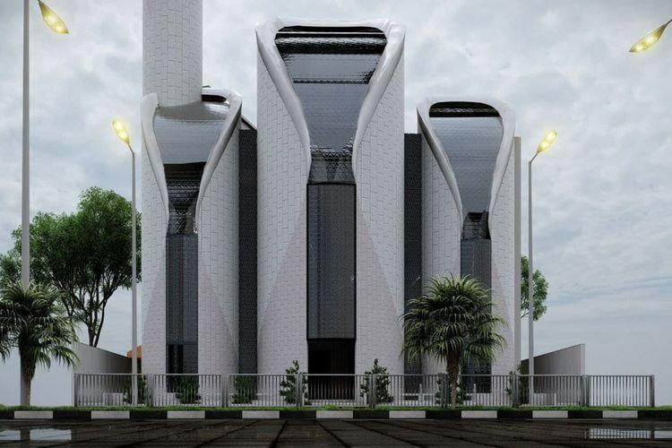 Desain Masjid Syeikh 'Ajlin Gaza, Palestina yang dibuat Ridwan Kamil.