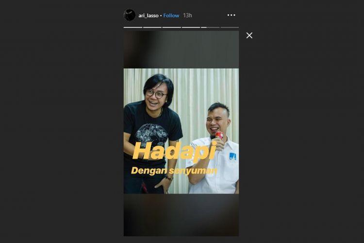 Ari Lasso menuliskan pesan untuk Ahmad Dhani lewat Instagram Story, Selasa (29/1/2019).