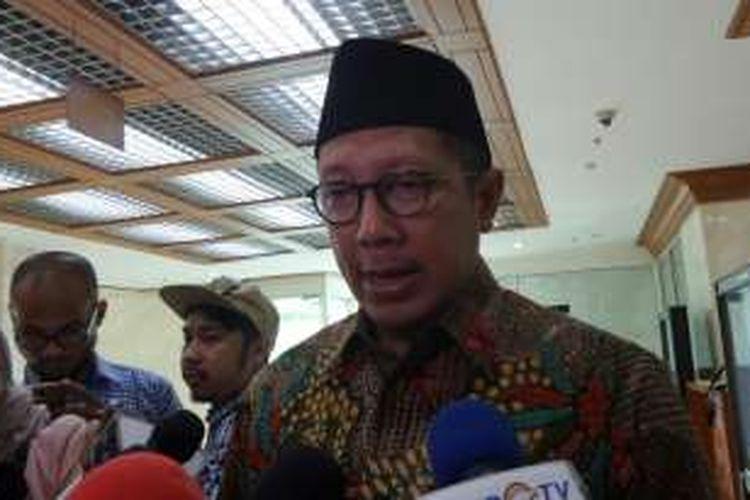 Menteri Agama Lukman Hakim Saifuddin di Kompleks Parlemen, Senayan, Jakarta, Senin (16/1/2017).