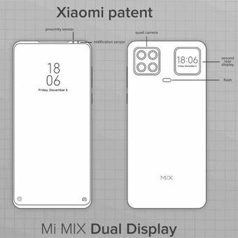 Desain Mi Mix dengan layar sekunder di punggung.