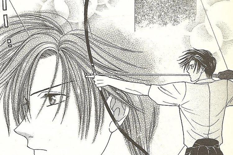 Ilustrasi senjata Jepang kuno, yumi, yang dipakai karakter Kyo Wakamiya dalam Alice 19th. [Via Myanimelist.net]