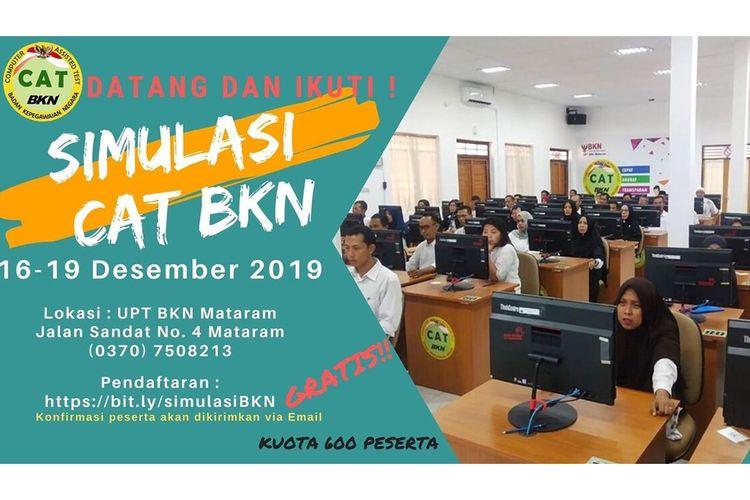 Poster tentang simulasi CAT yang akan digelar oleh UPT BKN Mataram.