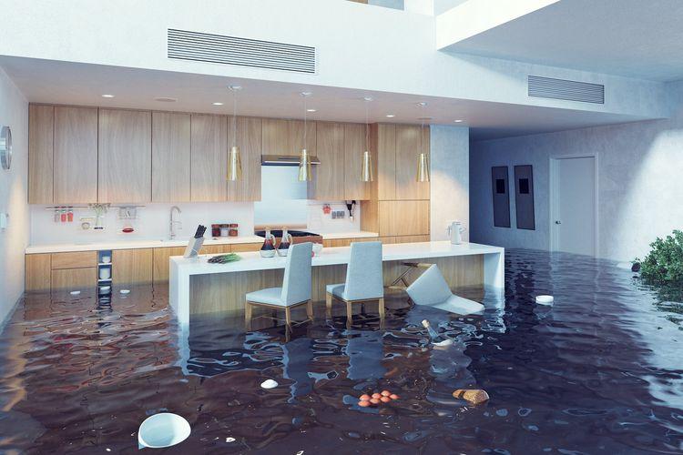 ilustrasi rumah yang terkena banjir