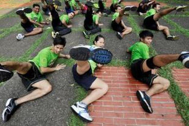 Tim pelatnas pencak silat di markas mereka, Padepokan Pencak Silat TMII, Jakarta.