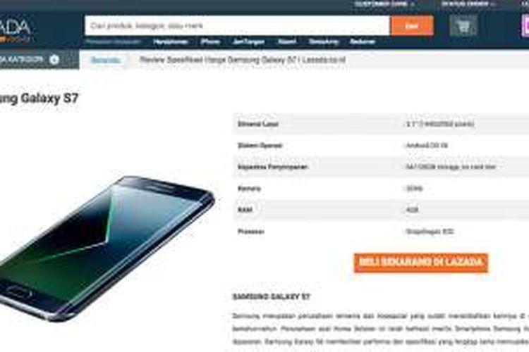 Tampilan landing page Galaxy S7 di situs Lazada Indonesia