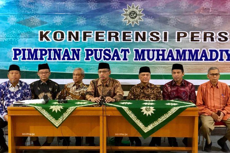 Ketua PP Muhammadiyah Haedar Nashir dalam Konferensi Pers di Gedung PP MUhammadiyah, Kamis (23/5/2019).