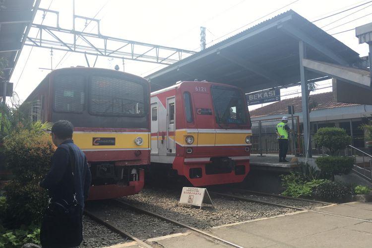 Uji coba jalur lalu lintas KRL Bekasi-Cikarang, Jumat (28/7/2017).
