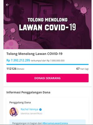 Tangkapan layar laman Kitabisa.com menunjukkan program donasi yang digalang Rachel Vennya berhasil terkumpul lebih dari Rp 7 miliar pada Rabu (25/3/2020) pagi.
