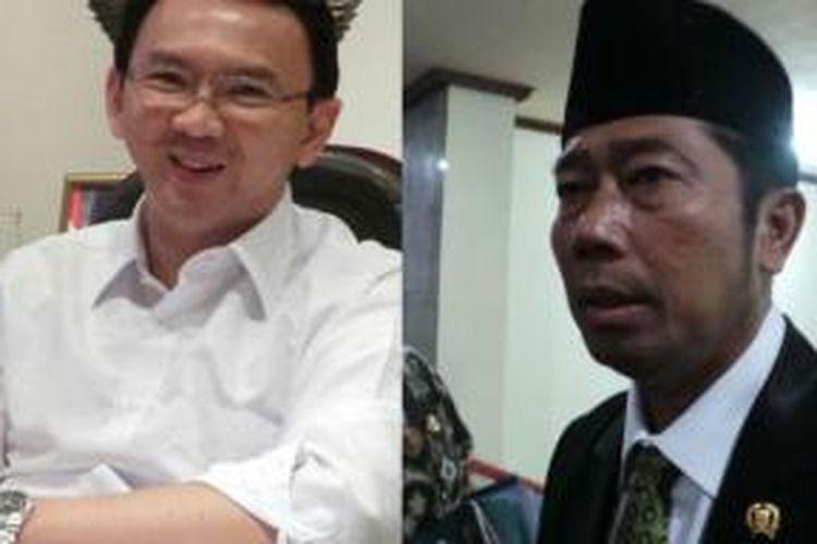Wakil Gubernur DKI Jakarta Basuki Tjahaja Purnama (kiri) dan Wakil Ketua DPRD DKI Jakarta Abraham Lunggana (kanan).