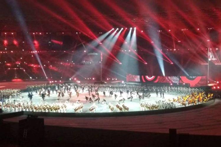Penutupan Asian Games 2018, Minggu (02/09/2018) di bawah guyuran hujan