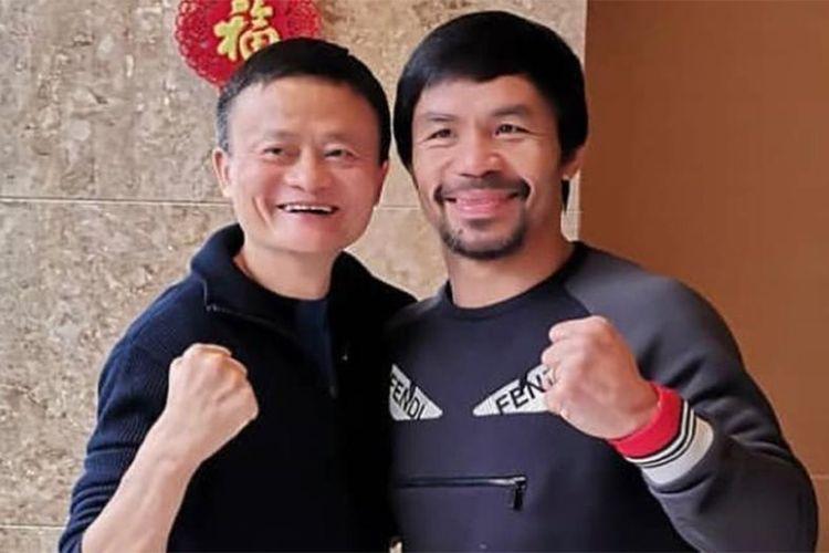 Manny Pacquiao (kanan) dan jutawan China, Jack Ma