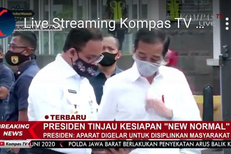 Presiden RI Joko Widodo dan Gubernur DKI Jakarta Anies Baswedan di Stasiun MRT Bundaran HI, Selasa (26/5/2020) pagi
