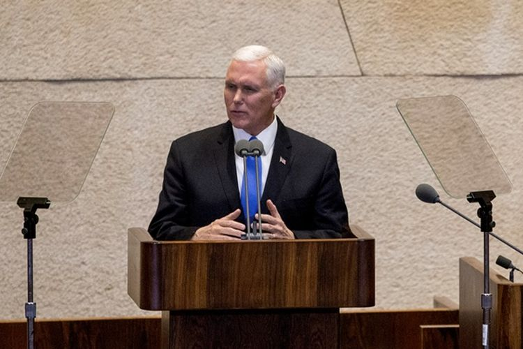 Wakil Presiden AS Mike Pence berbicara di hadapan parlemen Israel di Yerusalem, Senin (22/1/2018).