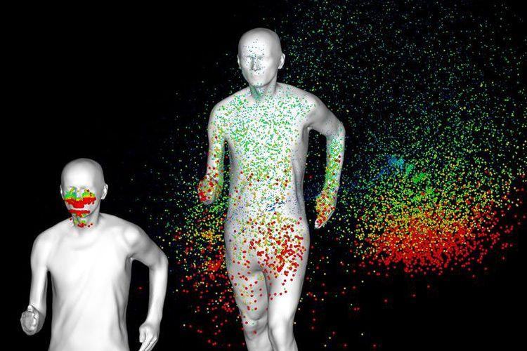 Ilustrasi slipstream dari orang yang berjalan atau berlari.