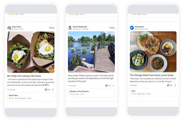 Tampilan Community Feed yang menampung seluruh unggahan dan ulasan dari para kontributor Google Maps.