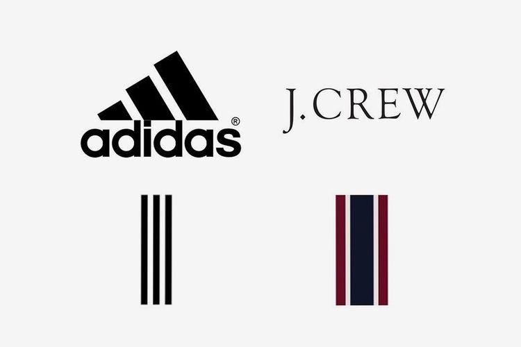 Logo tiga garis Adidas bersanding dengan logo lima garis milik J,Crew