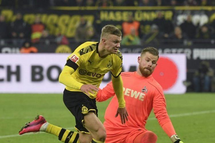 Erling Braut Haaland kala menghadapi Union Berlin pada lanjutan pekan ke-20 Bundesliga, Sabtu (1/2/2020) malam WIB.