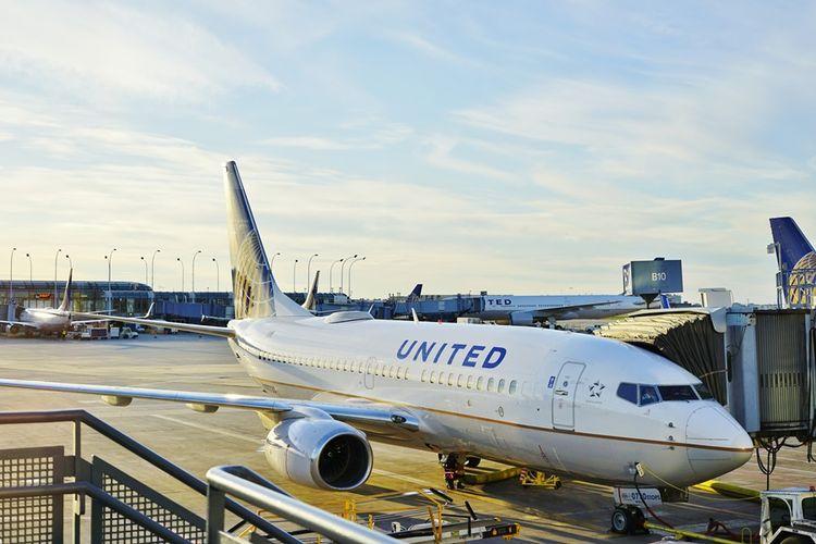 Ilustrasi pesawat milik maskapai penerbangan United Airlines.