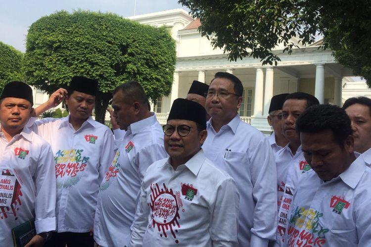 Ketua Umum PKB Muhaimin Iskandar dan para pengurus PKB tiba di Istana Kepresidenan Jakarta untuk bertemu Presiden Jokowi, Selasa (2/7/2019).