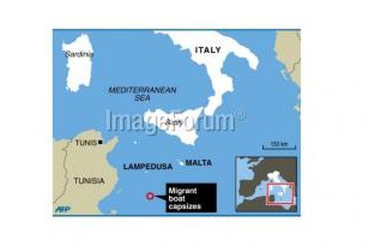 Lokasi kapal tenggelam di perairan antara Sisilia, Tunisia, dan Malta, Jumat (11/10/2013). Sepekan sebelumnya, kapal imigran juga karam, dengan tak kurang dari 300 orang tewas.