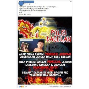 Tangkapan layar di media sosial Facebook tentang video ancaman Jokowi