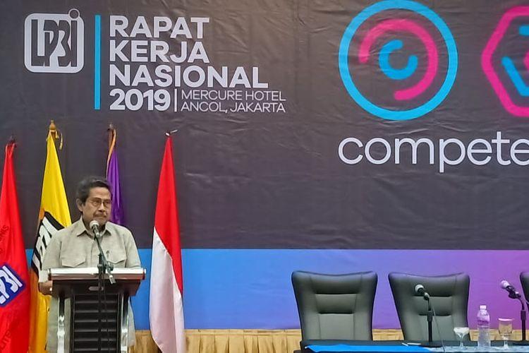 Ketua Dewan Pembina LP3I Fahmi Idris dalam pembukaan Rapat Kerja Nasional (Rakernas) LP3I 2019 dengan tema Competent and Adaptable yang dilaksanakan 18-21 November 2019 di Ancol, Jakarta.