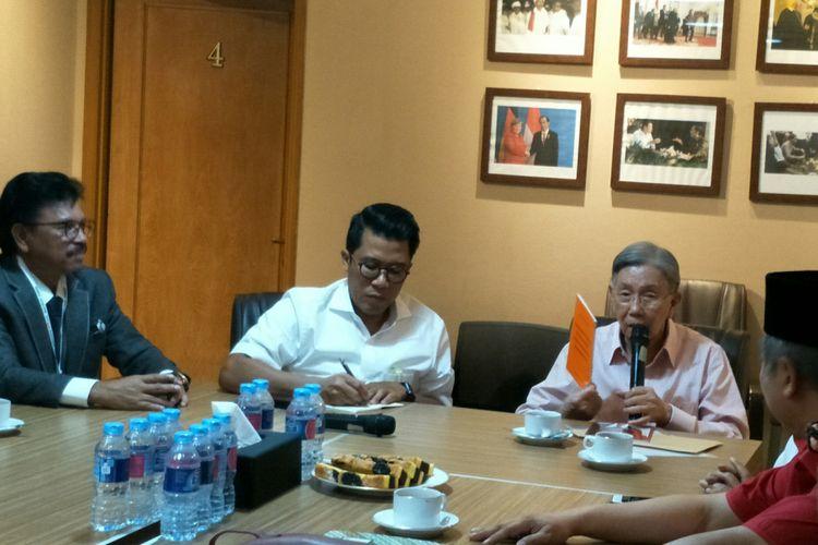 Mantan Menteri Koordinator Bidang Ekonomi, Keuangan dan Industri Kwik Kian Gue di Posisi Cemara, Jumat (21/9/2018)