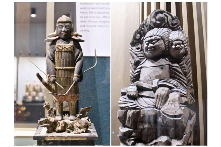 Patung Ryomen Sukuna yang berada di Kuil Senkoji di Takayama, Prefektur Gifu. Dewa tersebut juga merupakan salah satu tokoh antagonis dalam manga Jujutsu Kaisen.