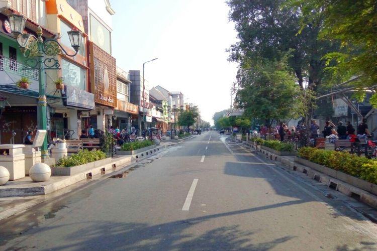 Suasana kawasan Malioboro saat pelaksanaan uji coba semi pedestrian