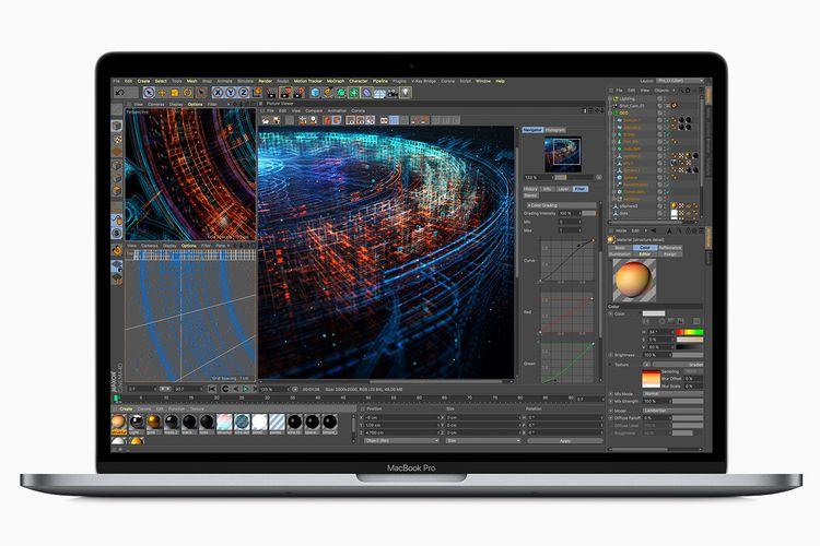 Ilustrasi MacBook Pro 15 Inci (2019) menjalankan aplikasi 3D