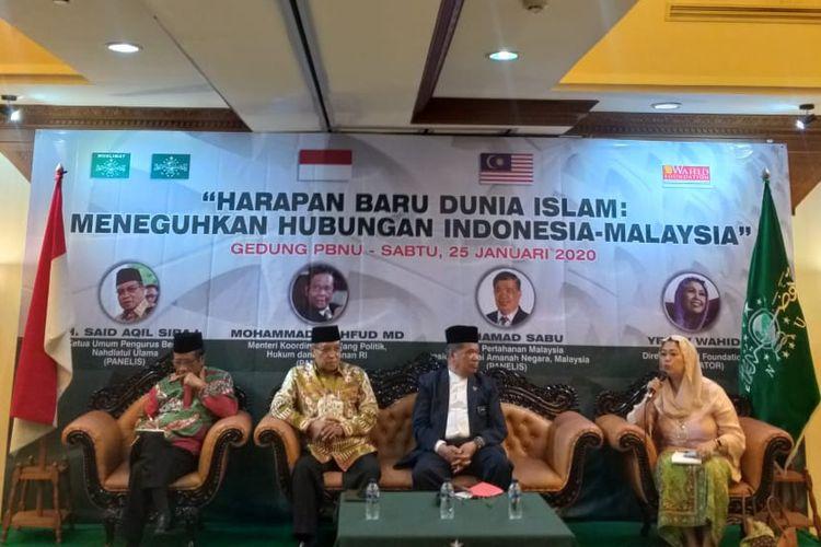 Diskusi Harapan Baru Dunia Islam: Meneguhkan Hubungan Indonesia-Malaysia di kantor PBNU, Sabtu (25/1/2020).