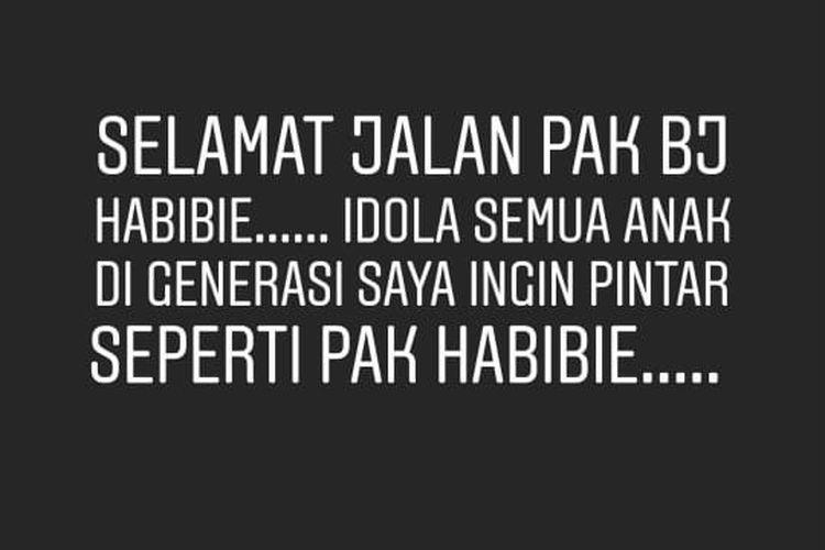 Unggahan Instagram Story Ringgo Agus Rahman yang turut berbela sungkawa atas wafatnya Presiden ketiga Republik Indonesia BJ Habibie.