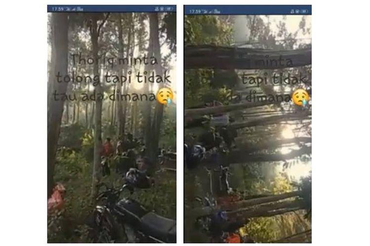 Video yang menampilkan situasi pencarian pendaki bernama Thoriq Rizki Mualidan di Gunung Piramid, Bondowoso, Jawa Timur.