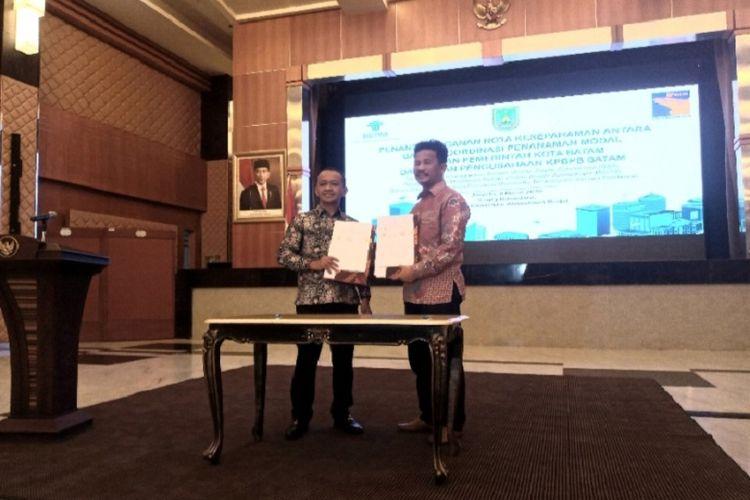 Penandatanganan MoU OSS antara Badan Koordinasi Penanaman Modal (BKPM) bersama Badan Badan Pengusahaan (BP) Batam di Jakarta Senin (9/3/2020)