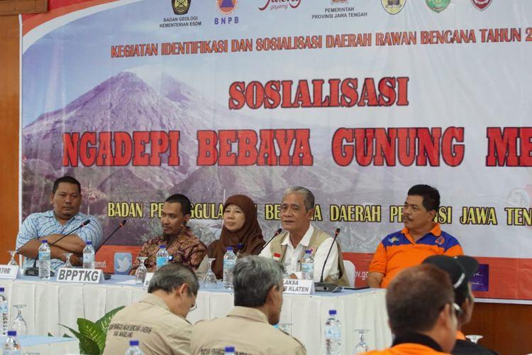 Kegiatan sosialisasi bencana gunung Merapi yang digelar oleh BPBD Provinsi Jawa Tengah di Hotel Galuh Prambanan Klaten, Sabtu (15/12/2018).