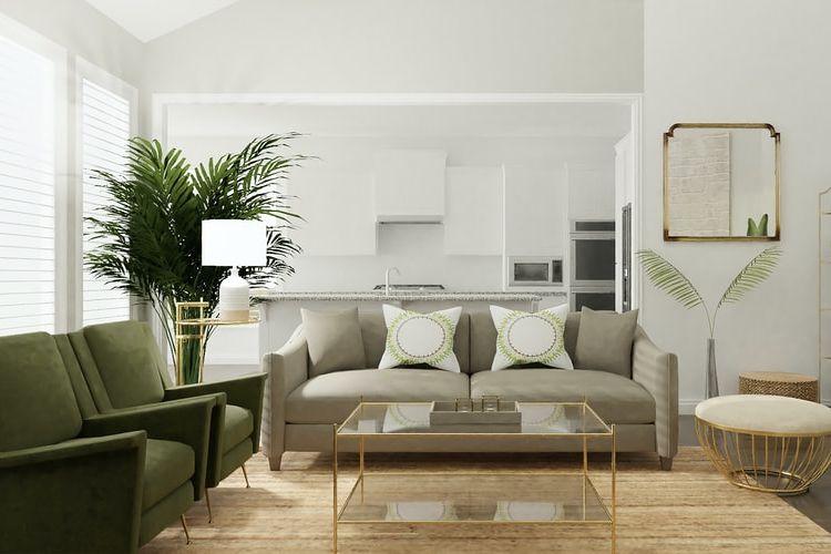 Ilustrasi ruang tamu dengan tanaman