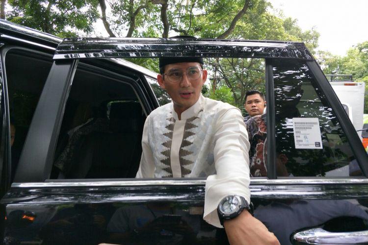 Wakil Gubernur DKI Jakarta Sandiaga Uno di Jalan Sriwijaya Raya, Sabtu (24/3/2019).