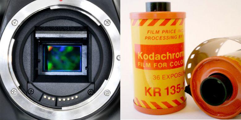 Kamera digital (kiri) memakai sensor sebagai medium penangkap gambar. Sensor adalah bagian persegi yang tampak berwarna-warni di tengah lubang mounting lensa kamera. Sementara kamera film memakai lembaran emulsi film yang biasanya tersimpan dalam rol berupa kemasan silinder. Inilah perbedaan yang paling mendasar di antara keduanya.