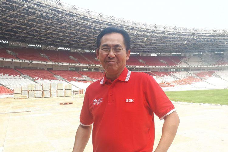 Direktur Utama Pusat Pengelola Kompleks Gelora Bung Karno (PPKGBK), Winarto di SUGBK, Selasa (4/9/2018).