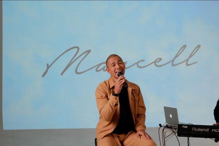 Penyanyi Marcell Siahaan saat acara peluncuran single terbarunya, Akhir Cinta