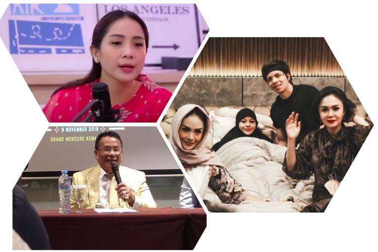 Kolase foto Nagita Slavina, Hotman Paris, Krisdayanti, Yuni Shara, Aurel Hermansyah, dan Atta Halilintar