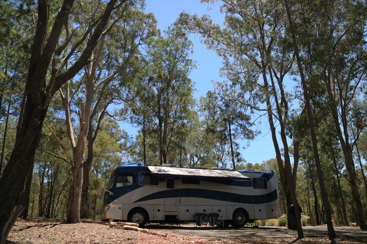 Bus untuk berkemah di Paradise Country, Gold Coast, Australia.