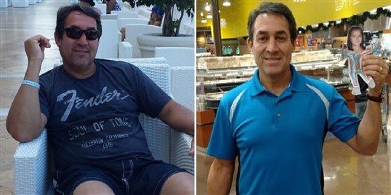 Bill Rodriguez, sebelum dan sesudah mengurangi berat badan.