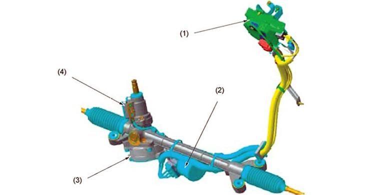 Empat komponen, Electronic Power Steering (EPS), yaitu 1. EPS control unit. 2. EPS motor and resolver. 3. Reduction gear. 4. Torque sensor.