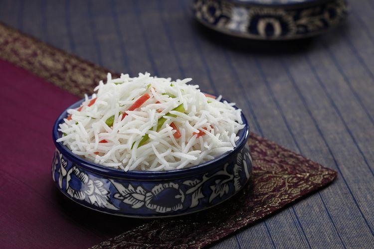 Ilustrasi beras basmati yang sudah dimasak. Beras basmati identik dengan hidangan khas Timur Tengah
