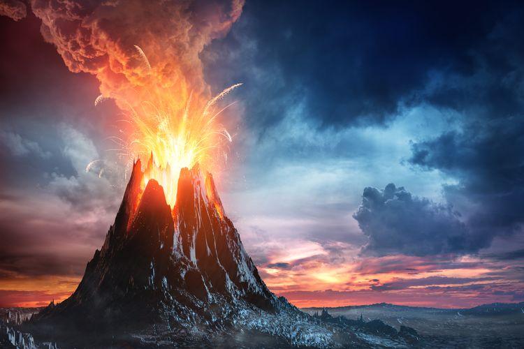 Ilustrasi gunung berapi meletus, gunung berapi super di Bumi.